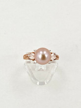 Natural Pink Freshwater Pearl Ring with Morganite and Diamonds