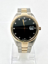 GUILLE Two-tone Watch with Black Diamond Dial