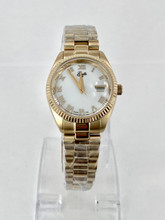 GUILLE Ladies Yellow Tone Roman Dial Watch
