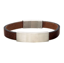 INOX Brown Leather with Stainless Steel Engravable ID Bracelet