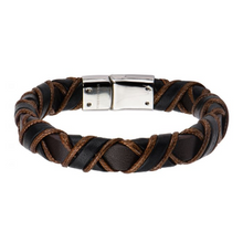 INOX Clasp with Woven Black and Light Brown Leather Bracelet