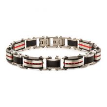 INOX Black & Red Plated Dante Link Bracelet
