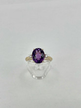3.61ct Oval Amethyst Yellow Gold Ring