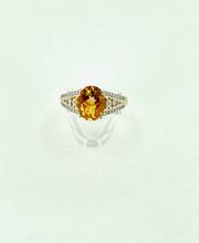 14 Karat Yellow Gold 2.34ct Citrine with Diamonds Ring