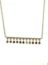 14 Karat Yellow Gold Multi Sapphire with Diamonds Necklace