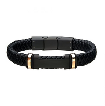 INOX Black Leather with Rose Gold Plated ID Bracelet