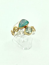 MICHOU Sterling Silver Ring with Opal and Prehnite
