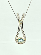 MICHOU Silver Pendant with Freshwater Pearl and Sky Blue Topaz