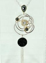 MICHOU Silver Necklace with Druzy Black, Ice Quartz, & Hematite