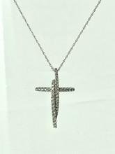 14 Karat White Gold Cross with 0.25ctw Round Diamonds