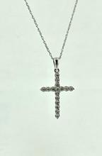 14 Karat 0.25ct Diamond Cross with Rope Chain
