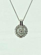 14 Karat White Gold Digital Locket Ladies Diamond Pendant