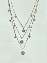 18 Karat Triclor 0.68ctw Diamond Necklace