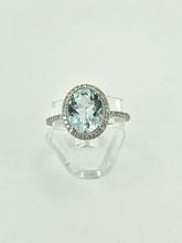 14 Karat Oval Cut Aquamarine Diamond Ring