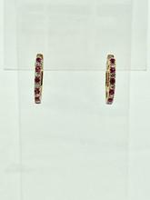 14 Karat Yellow Gold Ruby and Diamond Small Hoops