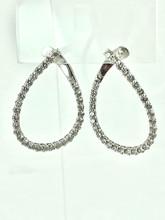 14 Karat White Gold 3.00ctw Diamond Hoops