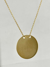14 Karat Yellow Gold Round Name Plate Necklace
