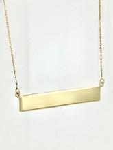 14 Karat Yellow Gold Engravable Bar Necklace