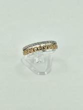 14 Karat Two-Tone Band Fashion Ring with Diamonds