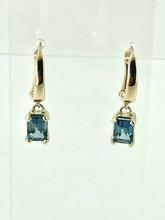 14 Karat Yellow Gold Blue Topaz Earrings