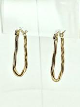 14 Karat Yellow Gold Medium Long Hoops