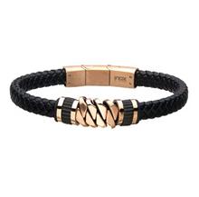INOX Black Braided Leather with Rose Gold IP Bracelet