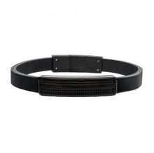 INOX Black Leather with Black Streamline ID Bracelet