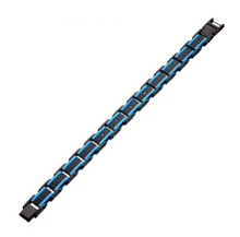 INOX Hammered Blue Line Bracelet