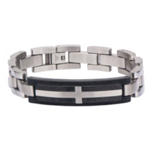 INOX Stainless Steel Cross Inlayed in Solid Carbon Graphite Link Bracelet