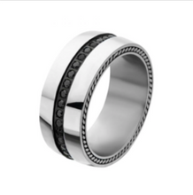 INOX Stainless Steel Ring with Black CZ in the middle