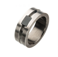 INOX Stainless Steel with Antique White Bronze Rings