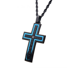 INOX Hammered Blue Line Cross Pendant with Chain