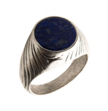 INOX Stainless Steel Silver Plated with Lapis Stone Ring
