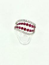14 Karat White Gold Fashion Ruby and Diamond Ring (2 in 1)