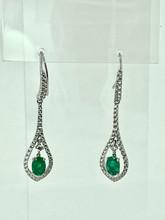 18 Karat White Gold Emeralds and Diamonds Drop Earrings