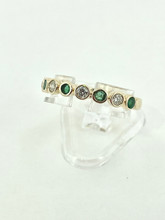 14 Karat Yellow Gold Emerald and Diamond Ring
