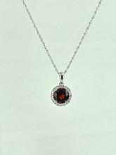 14 Karat White Gold Necklace with Round Garnet and Diamonds