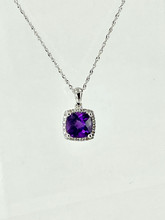 14 Karat White Gold Necklace with 1.44ct Amethyst and Diamonds