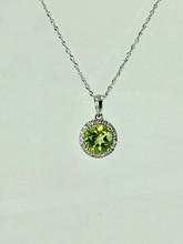 14 Karat White Gold Peridot Necklace with Diamonds