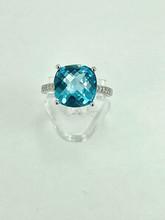 14 Karat White Gold 8.43ct Cushion Blue Topaz Ring with Diamonds