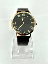 GUILLE Men's Black Dial Watch with Brown Leather Band