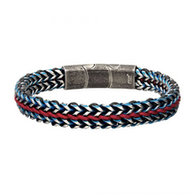 INOX Allegiance Stainless Steel Bracelets with Red Wax Cord binding 2 Blue Antique Brushed Foxtail Links