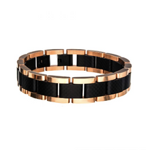 INOX Black and Rose Gold Plated with Carbon Fiber Bracelet