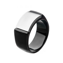 INOX Two Tone Stainless Steel, Black Engraveable Signet Ring