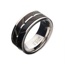 INOX Stainless Steel & Black Raised Wave Ring