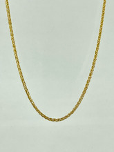 14 Karat Yellow Gold Wheat Diamond Cut Chain