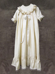 Silk  Baptismal Gown with Matching Bonnet
