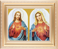 Sacred Heart, Immaculate Heart - Satin Gold Frame