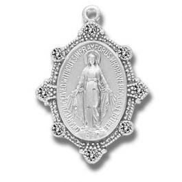 Sterling silver Miraculous Medal with crystal stones and an 18 inch chain