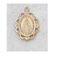 Small fancy edged Miraculous Medal with an 18 inch chain